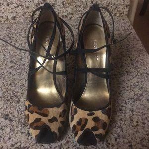 Calf hair leopard print open toe heels